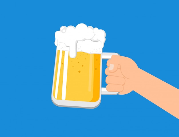 Hands holding a beer mug