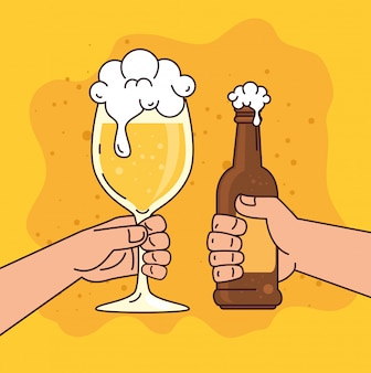 Руки держат пиво в чашке и бутылке, на желтом фоне