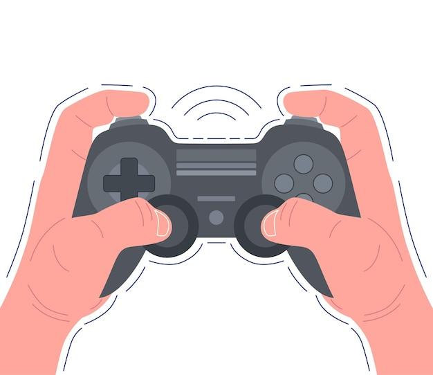 黒のゲームパッドを持ってビデオゲームをしている手。ベクトルイラスト。