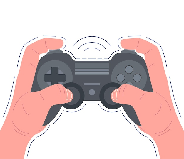 Hands holding black game pad and playing video game. vector illustration.