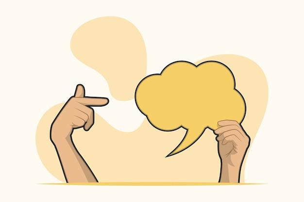 손에 들고 빈 연설 거품과 포인트 개념
