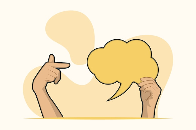 Hands holding blank speech bubble and point concept