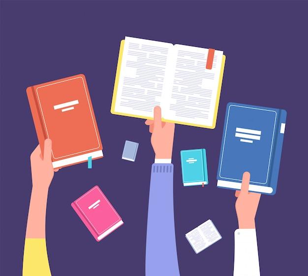 Руки держат книги. публичная библиотека, литература и читатели. концепция вектора образования и знания