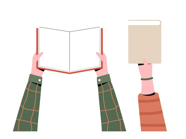 책을 들고 손