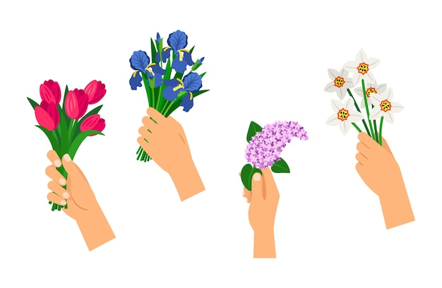 Hands holding bouquets.