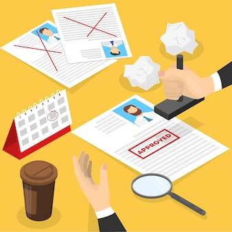 候補cvプロファイルを持っている手。人事部長が審査を再開します。採用する求職者を探しています。募集のアイデア。等角投影図