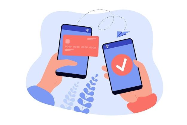 Руки, держащие мобильные телефоны и отправляющие деньги из электронного бумажника с плоским вектором. мультяшные мобильные платежи онлайн с помощью телефона