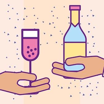 Руки с бутылкой шампанского и стеклянной чашкой