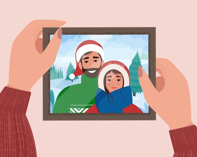 Hands holding christmas family portrait in frame photo for memory cute flat vector illustration