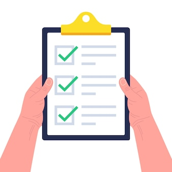 Hands holding clipboard with checklist. concept of survey, quiz, to-do list or agreement.  illustration.