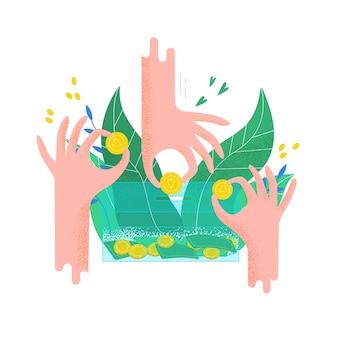 Руки держат монеты и положить их в копилку. концепция благотворительного проекта