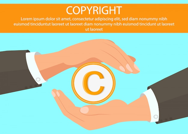 Hands holding copyright symbol web banner