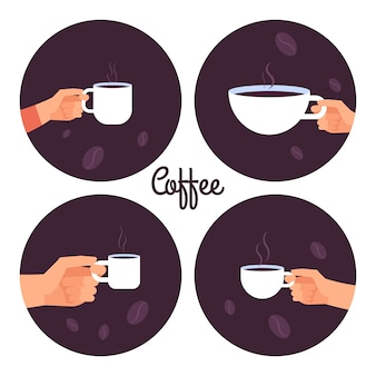Hands holding cups of coffee vector illustration