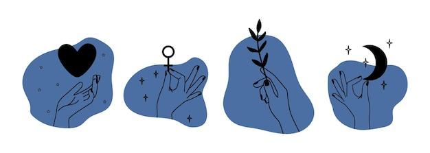Руки держат разные вещи. элементы абстрактной линии, современное декоративное искусство. женская рука с сердцем, филиал луны, любовь и добрая метафора векторные иллюстрации
