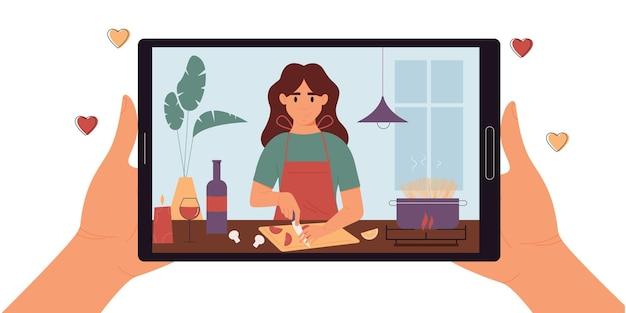 화면에 여자 블로거와 디지털 태블릿을 들고 손음식 블로깅플랫 만화 스타일벡터