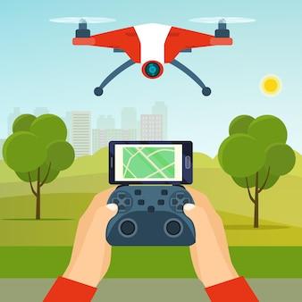 ドローンコントローラーを持っている手公園で飛んでいるドローンクワッドコプターベクトルフラットイラスト