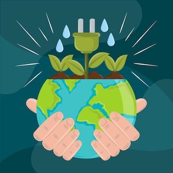 生態系の地球を握る手