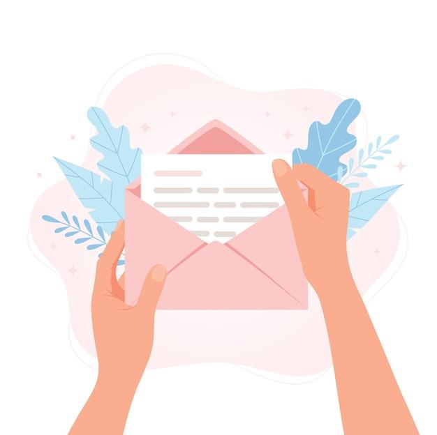 手紙と封筒を保持している手。フラット漫画スタイルのベクトルの概念図です。