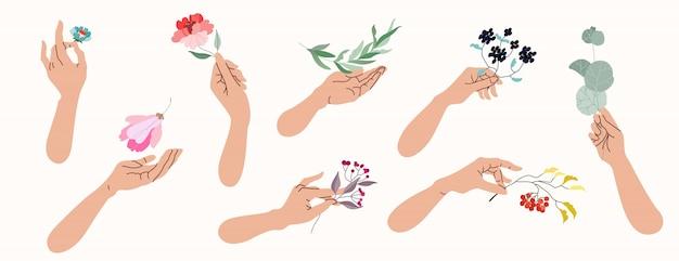 Руки держат цветы и ветви деревьев. собрание изолированных иллюстраций женских рук держа различные ботанические растения. концепция красоты и природы.