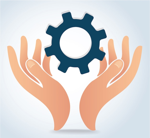 Hands holding gear design logo icon