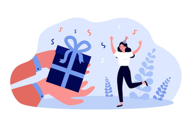 Hands holding giant gift box for happy woman in party hat. girl receiving birthday present flat vector illustration. birthday, celebration, shopping concept for banner or landing web page