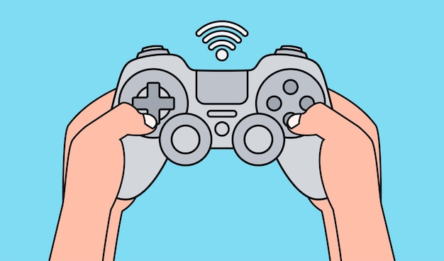 Hands holding gray game pad and playing video game.  illustration.