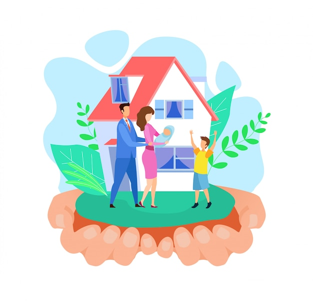 Hands holding house abstract vector illustration