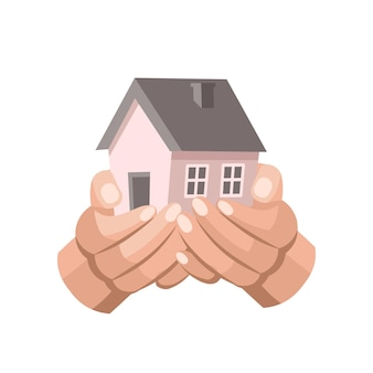 Hands holding houseconcept of rent home purchase mortgage real estate insurance and banking