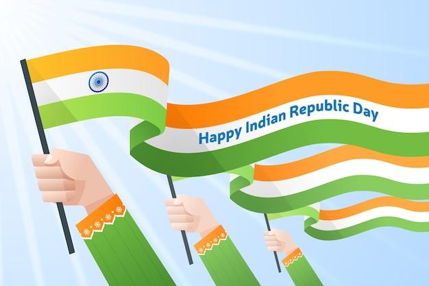 建国記念日のインドの旗を保持している手