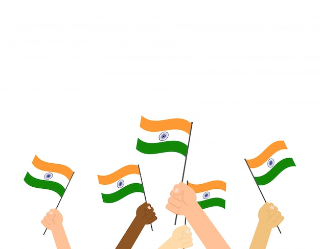 Hands holding indian flags