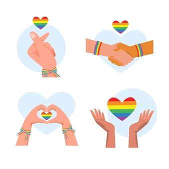 Hands holding lgbtq rainbow hearts