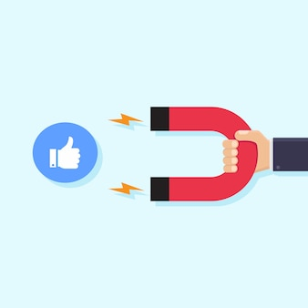Hands holding magnets and like icons social media