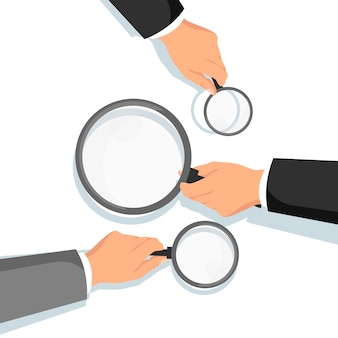 Hands holding magnifying glass. information search