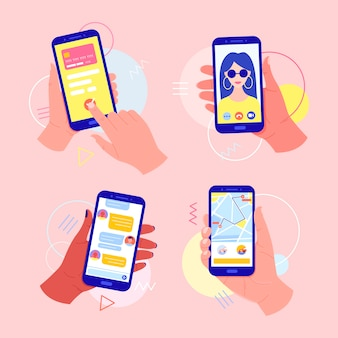 Hands holding a mobile phone with applications on the screen: online payment by card, video call, taxi call, chat in the messenger. video call concept. finger touch the screen.