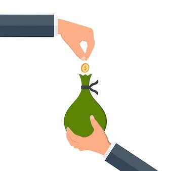 Hands holding money bag.