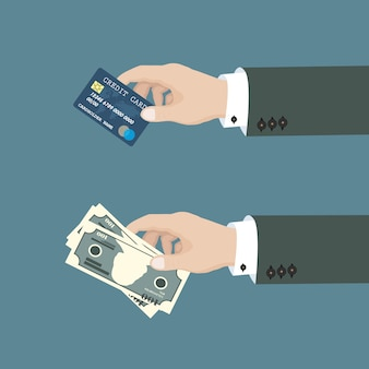 Hands holding money bills and credit card. concept of financial transaction, operations.