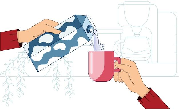 간단한 주방 인테리어 앞에 뜨거운 커피와 우유가 든 머그를 들고 있는 손
