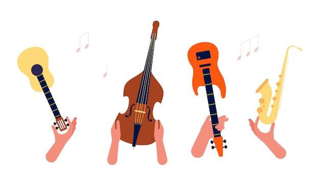 음악 악기를 들고 손입니다. 기타, 문자열 및 바람 뮤지컬 오케스트라 벡터 배너입니다. 그림 악기, 색소폰 및 기타