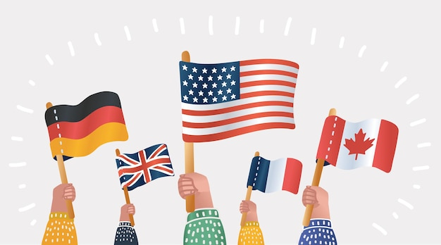 Hands holding national flags different countries