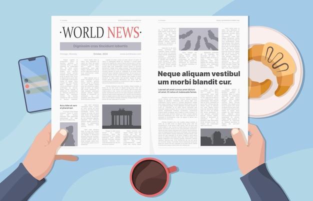 신문을 들고 손입니다. 사업가가 뉴스를 읽고 모닝 커피를 마시는 것은 화려한 벡터 개념입니다. 일러스트 세계 정보 커뮤니케이션 페이지