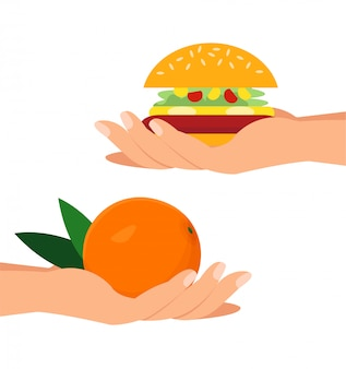 Hands holding orange and burger flat illustration