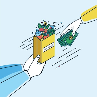 Hands holding paper bag with fruits and vegetables and passing money. concept of order or purchase in online grocery products or food delivery service. colorful   illustration in lineart style.