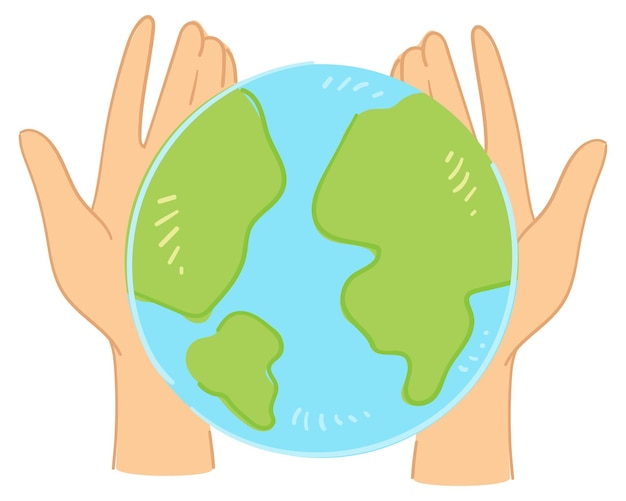 손을 잡고 있는 지구, 고립된 기호 또는 생태학 및 환경 오염 문제 해결의 보호 및 보호. 지속 가능성과 인류의 책임. 평면 스타일의 벡터