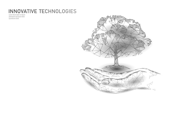 Hands holding plant tree ecological abstract concept.  render planting soil seedling leaves. save planet nature environment grow life. eco polygon triangles