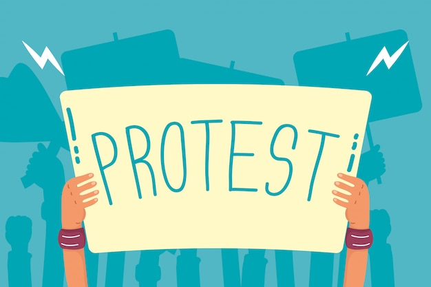 Hands holding protest banner