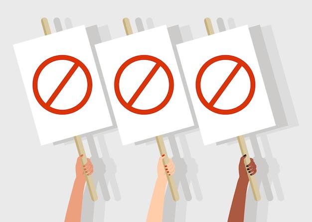 抗議バナーを保持している手。政治的旗を掲げる人々、ストライキの兆候を示す活動家。