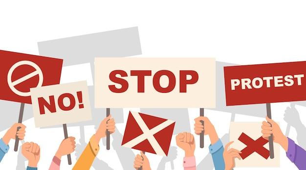Руки держат знак протеста, не останавливайте протест, плакат шаблон плоской векторной иллюстрации на белом фоне