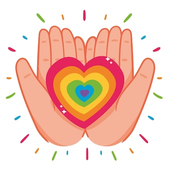 Hands holding rainbow heart
