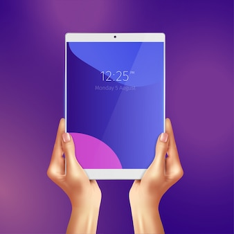 Hands holding realistic white tablet with date and time at screen illustration