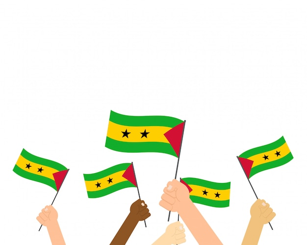 Hands holding sao tome and principe flags